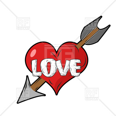 400x400 Red Heart And Arrow Of Cupid Royalty Free Vector Clip Art Image