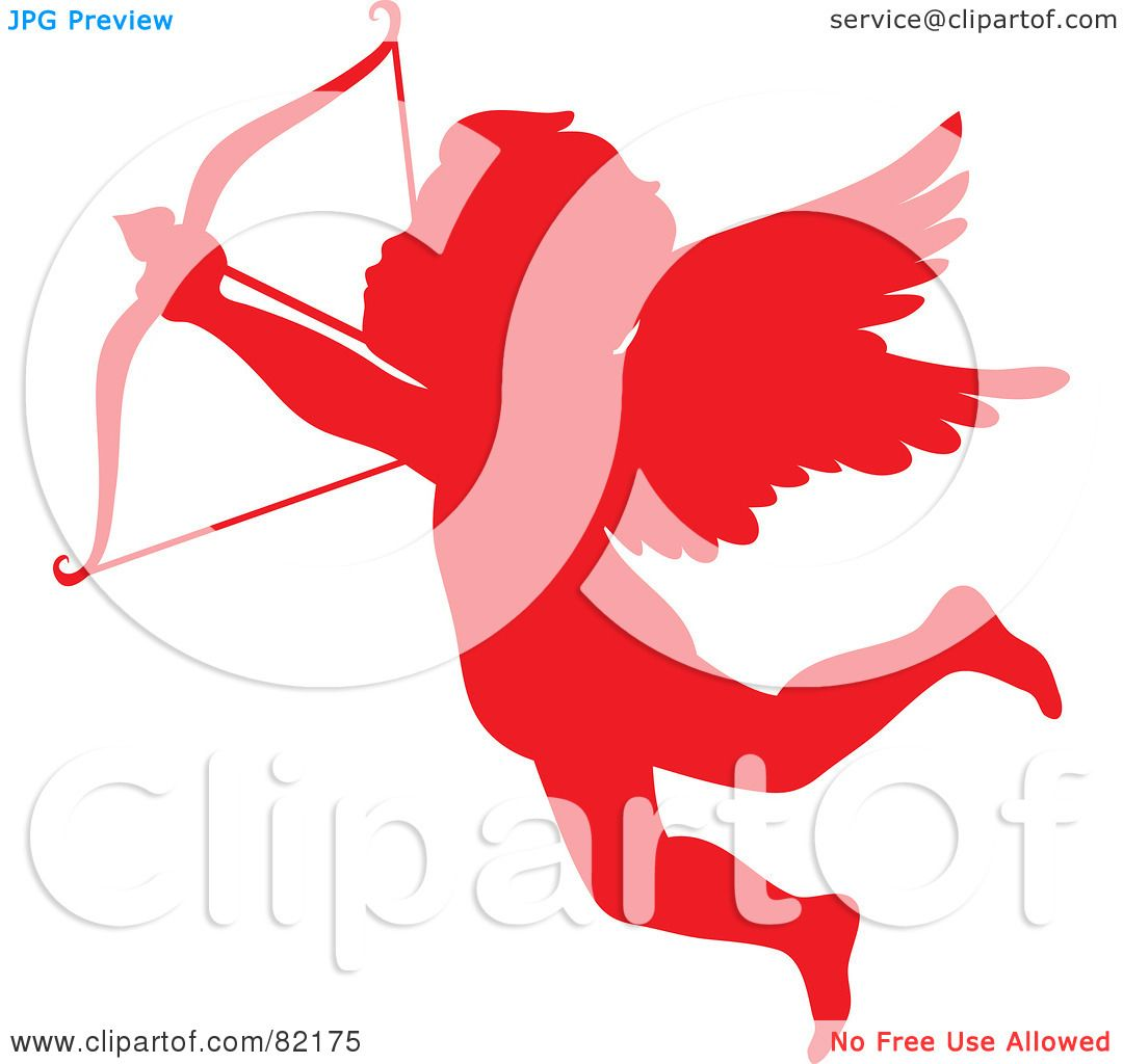 1080x1024 Royalty Free (Rf) Clipart Illustration Of A Red Cupid Silhouette