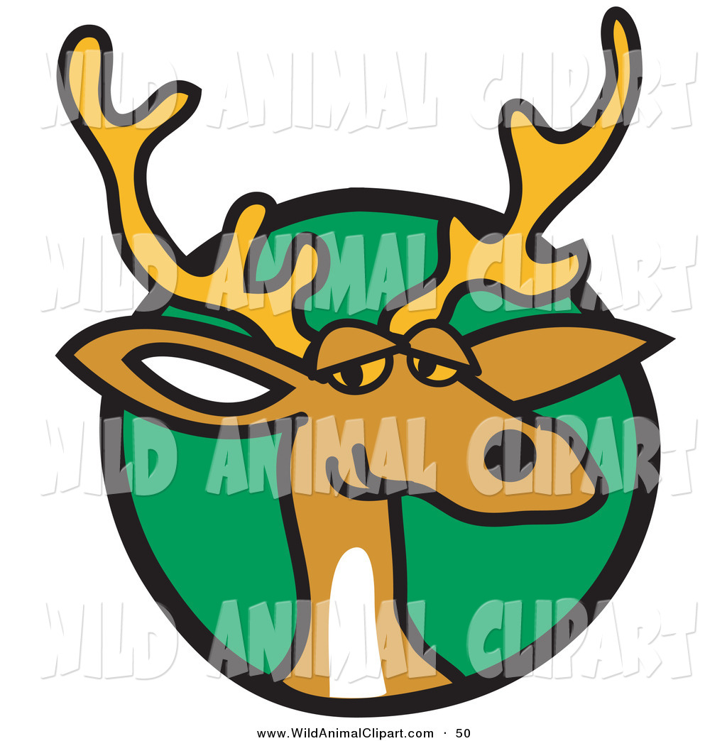 1024x1044 Clip Art Of A Curious Brown Deer With Antlers Over A Green