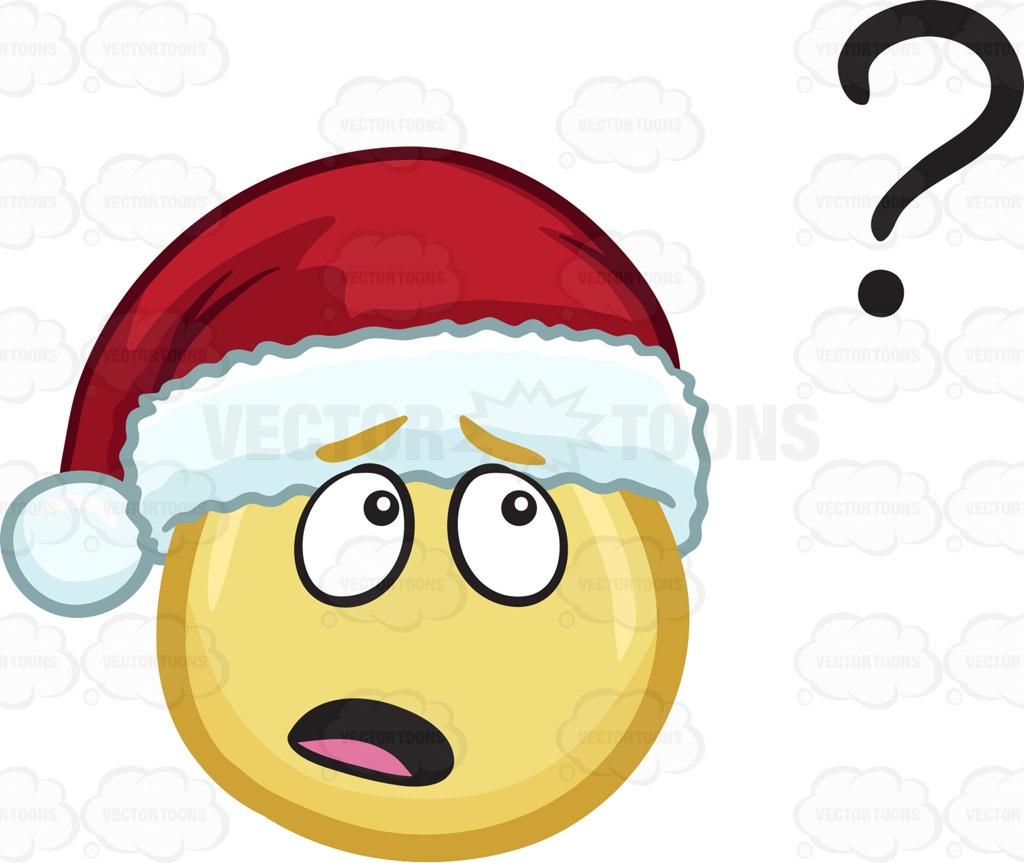 1024x863 A Curious Emoji Wearing A Santa Hat Cartoon Clipart Vector Toons