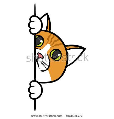 450x470 Peeking Eyes Clip Art Stock Vector Cartoon Curious Peeking Cat