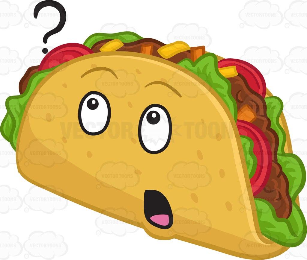 1024x869 A Curious Hard Shell Taco Snack Cartoon Clipart Vector Toons