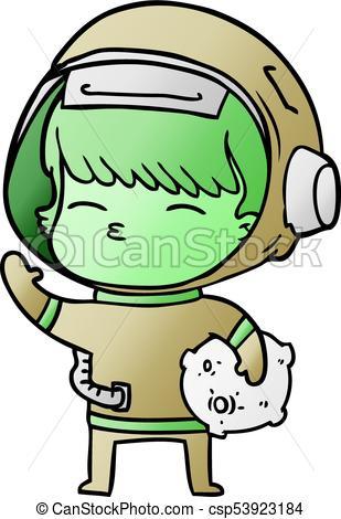 309x470 Cartoon Curious Astronaut Carrying Space Rock Vector