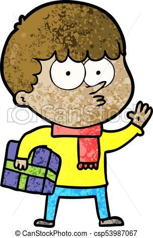 303x470 Cartoon Curious Boy Carrying A Gift Clip Art Vector