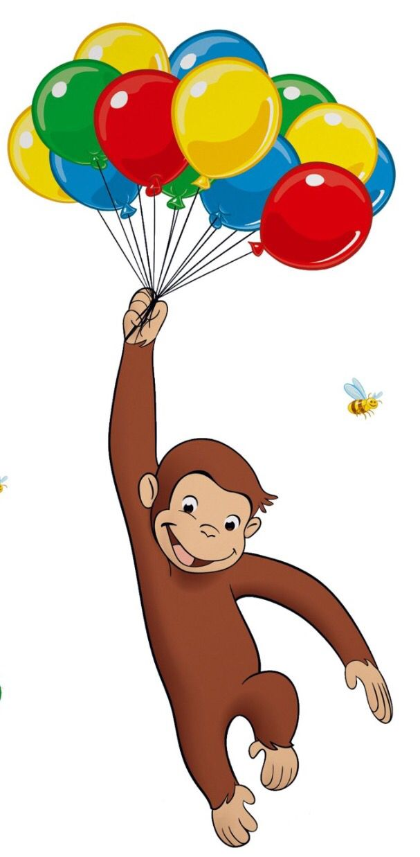 Curious George Style Balloons Bees Clouds Wall Window View ...  |Curious George Holding Ballons Drawings