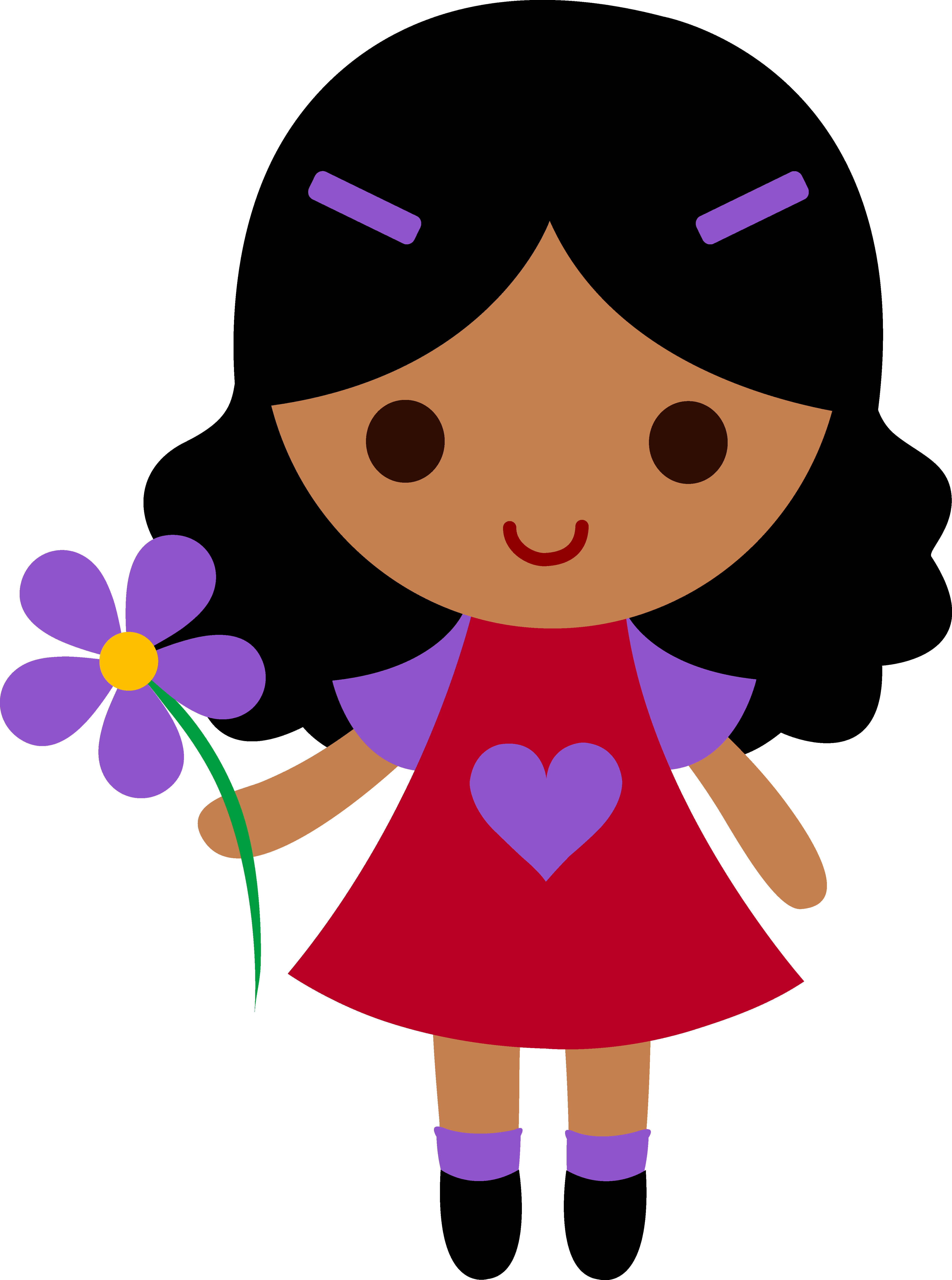 4451x5988 Clip Art Of Little Girls With Curly Hair Little Girl With Purple
