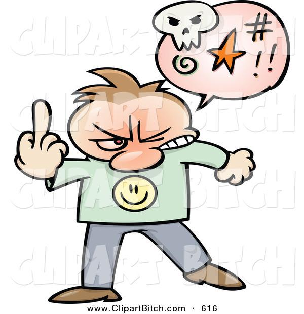 600x620 Clip Vector Cartoon Art Of An Angry Cartoon Guy Swearing