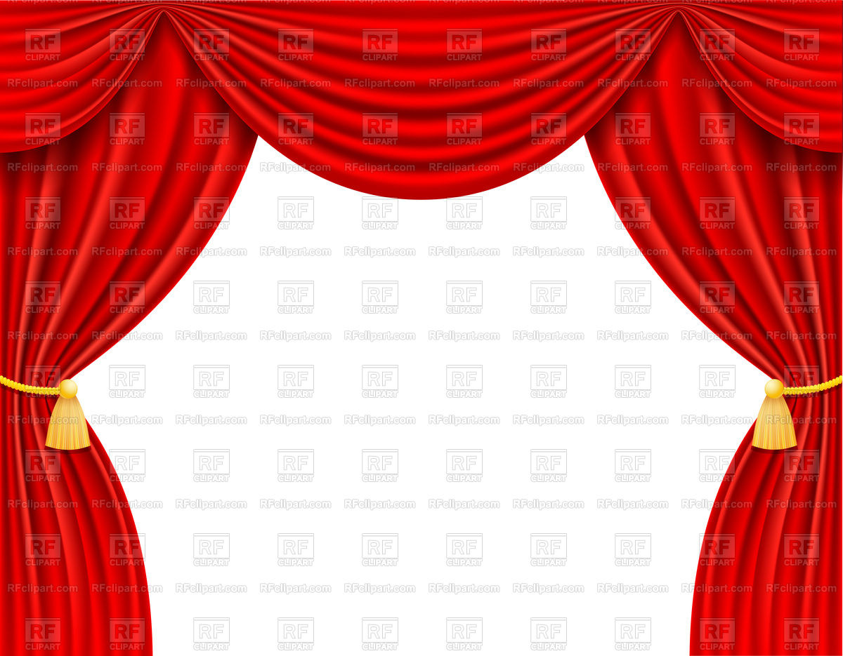 1200x935 Red theatrical curtain on white background Royalty Free Vector