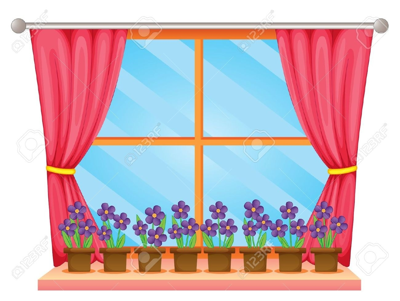 1300x977 Window With Curtains Clipart