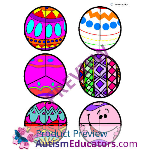 500x500 Easter Egg Fraction Circlescut Amp Paste For Autism
