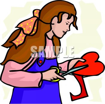 350x348 Girl Cutting A Paper Heart