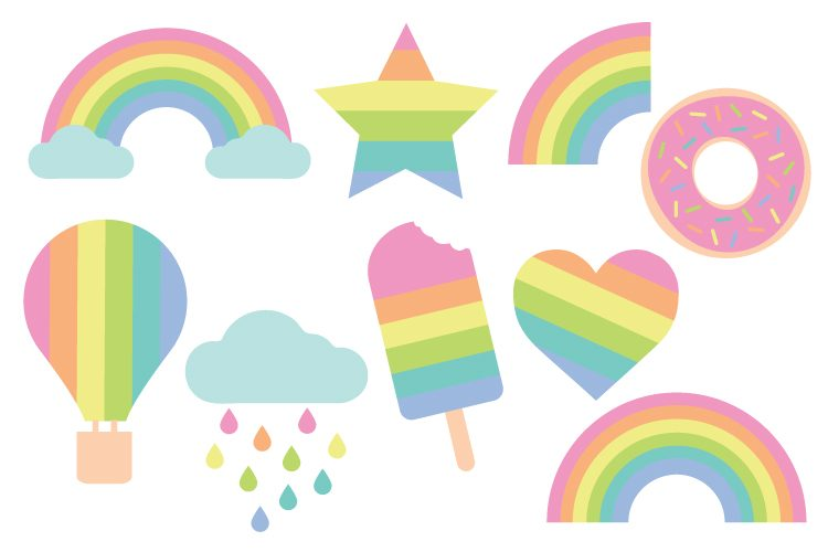 750x500 Pastel Rainbow Cut Files + Clip Art