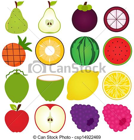 450x470 A Vector Collection Of Fresh Fruit Cut In Half Isolated On White