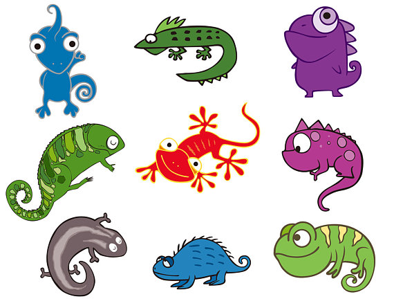 570x445 Chameleon Svg Cut File, Lizard Vectors Clip Art