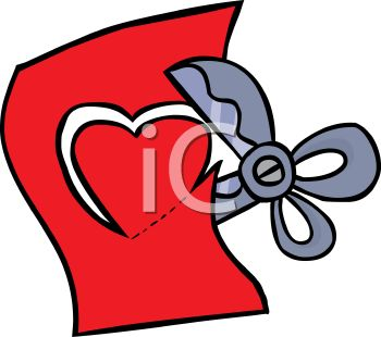 350x310 Royalty Free Clip Art Image Scissors Cutting A Paper Heart