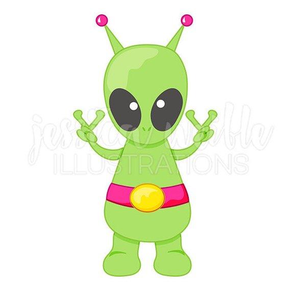 570x570 Peace Alien Cute Digital Clipart Cute Alien Clip Art Peace