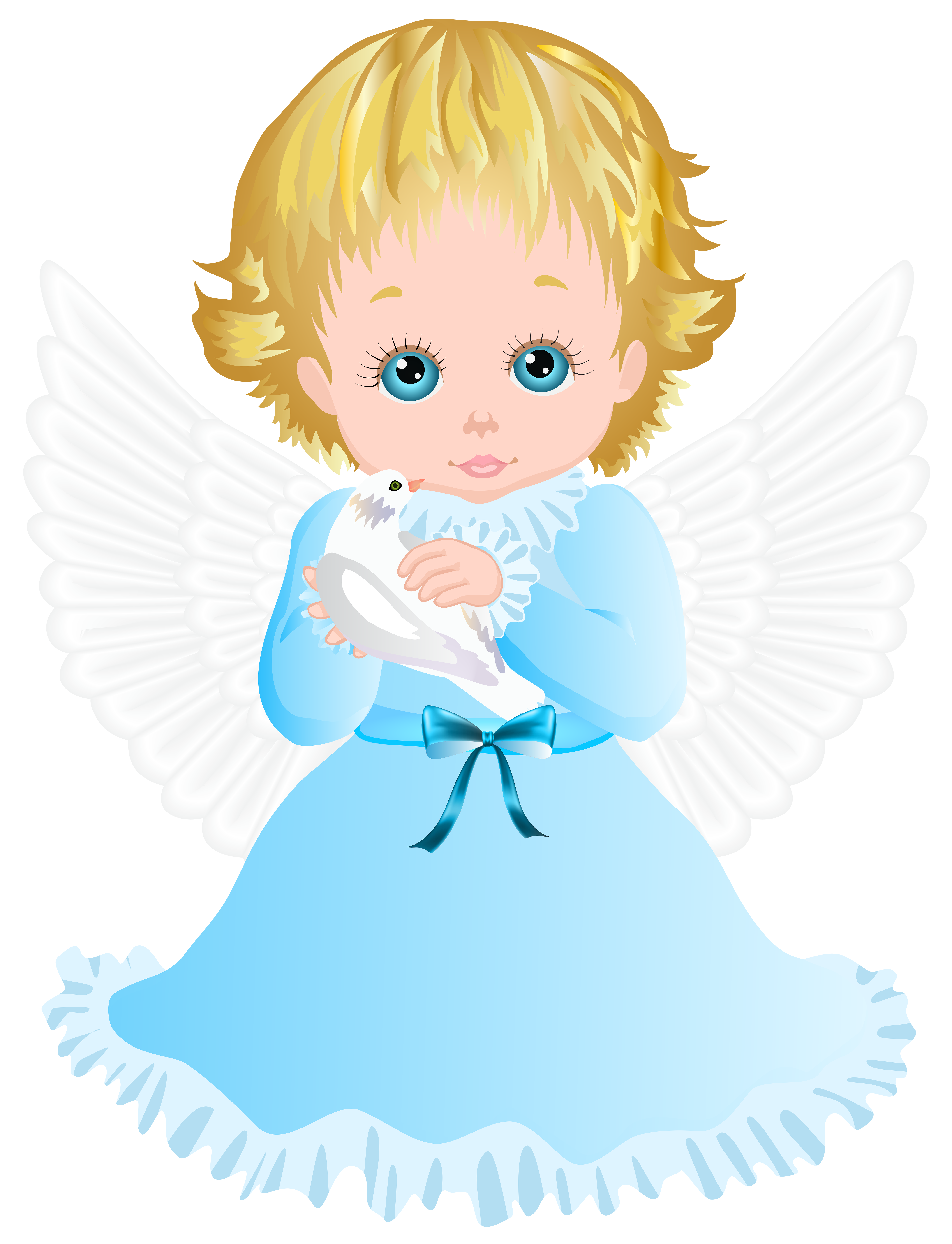 6124x8000 Cute Angel With White Dove Transparent Png Clip Art Image