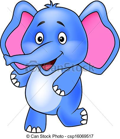 406x470 Cute Elephant Cartoon Vector Clip Art