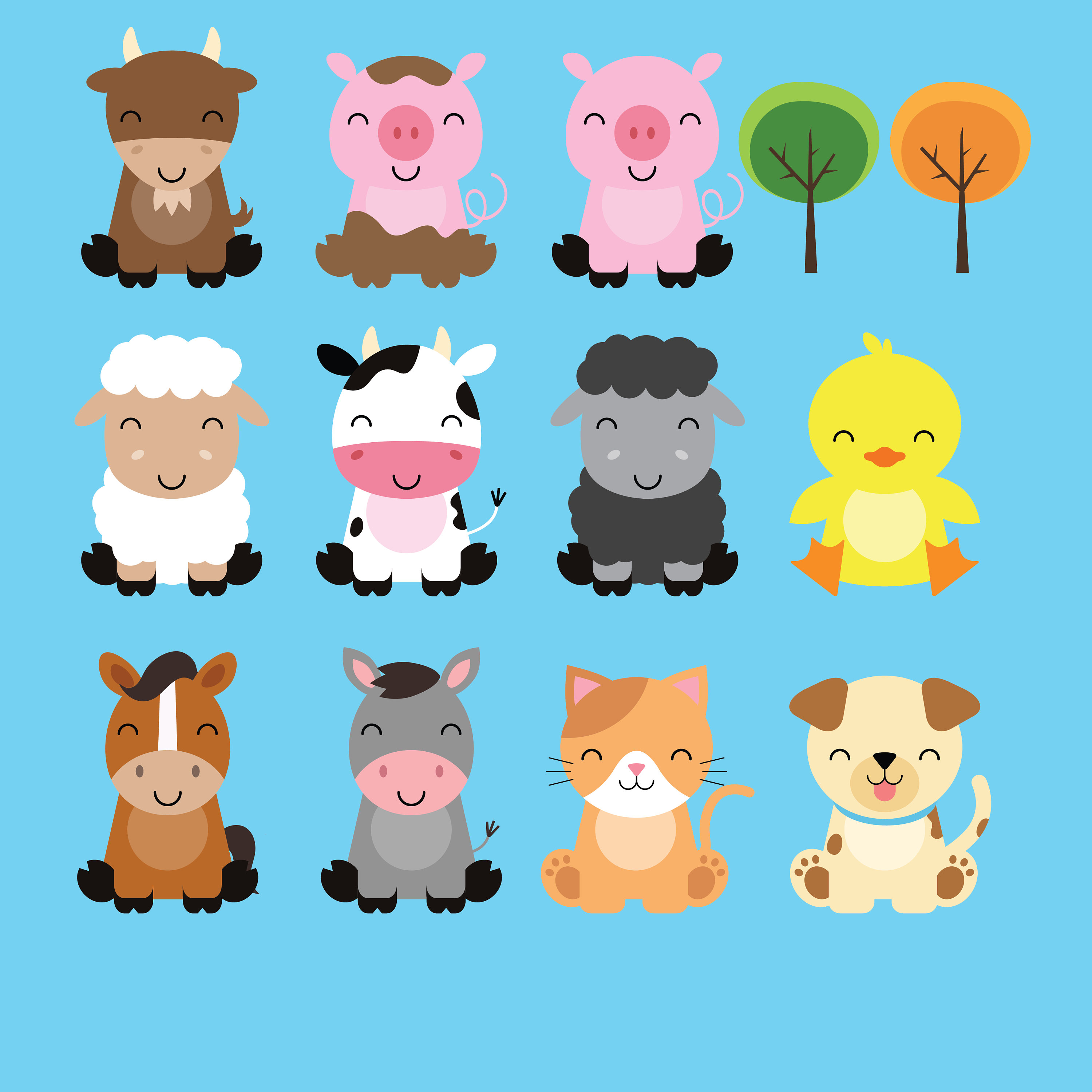 3000x3000 Farm Baby Animals Clipart Cute Animal Clipart Barnyard Animals