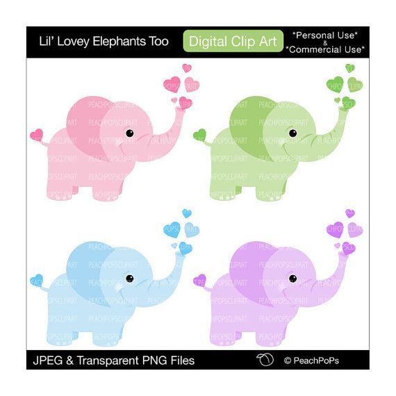 570x570 Cute Elephant Clip Art Digital Clipart By Peachpopsclipart On Etsy