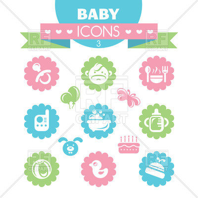 400x400 Set Of Cute Baby Icons Royalty Free Vector Clip Art Image