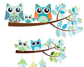 340x270 Nursery Baby Boy Cute Bird And Tree Clipart Set