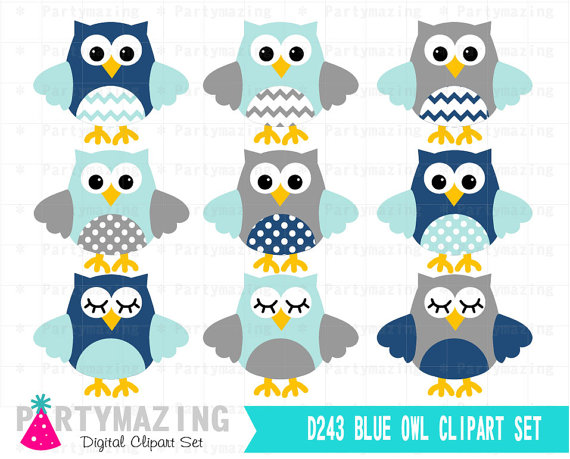 570x459 Owl Clipart,, Cute Owl Navy Blue And Gray Clip Art Set