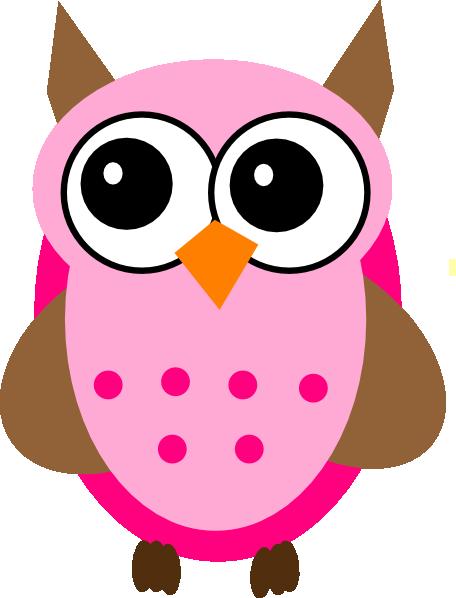 456x598 Pink Brown Owl Clip Art