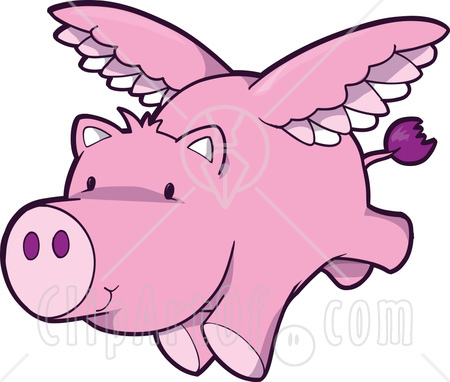 450x382 Cute Pink Pig Flying Clipart Graphic Illustration Royalty