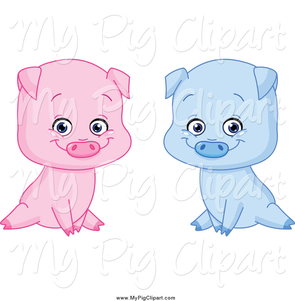 1024x1044 Swine Clipart Of Sitting Blue And Pink Boy And Girl Pigs By