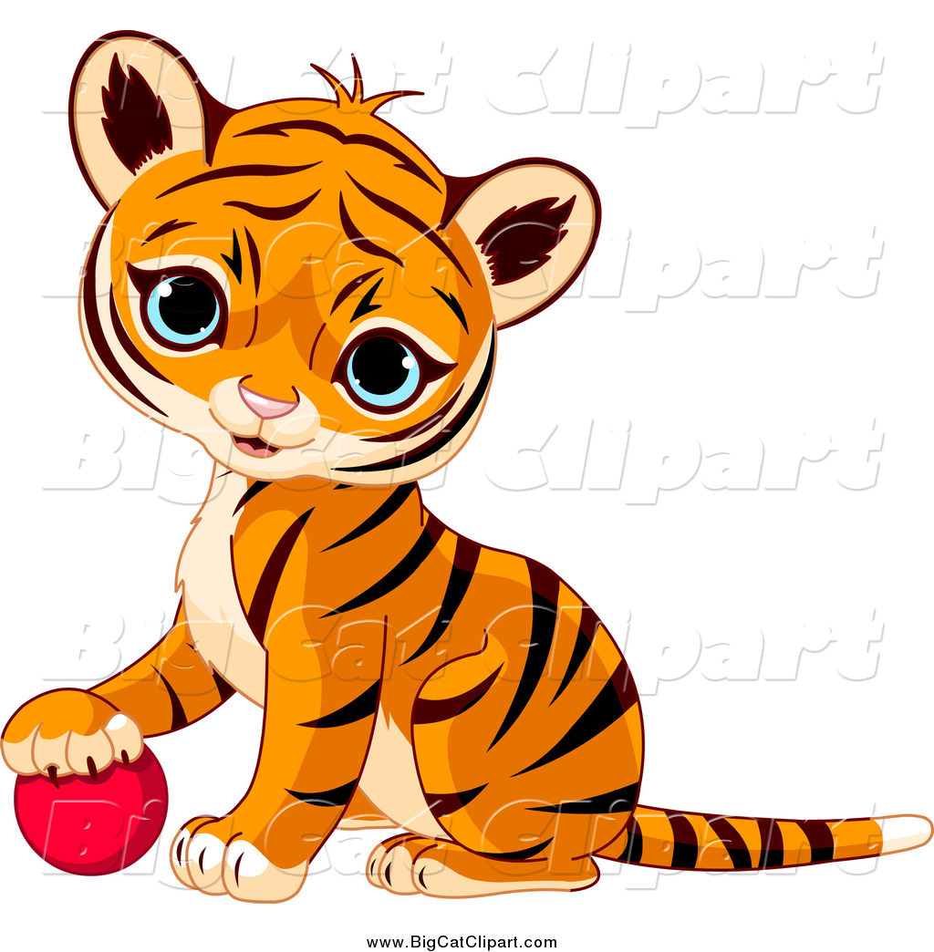 1024x1044 Big Cat Vector Clipart of a Cute Baby Tiger Cub Resting His Paw on