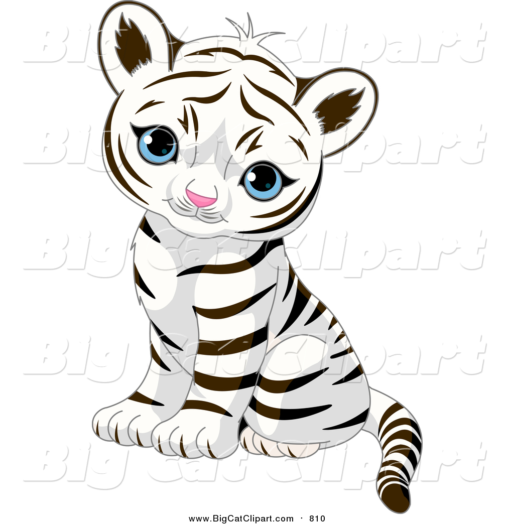 1024x1044 Big Cat Vector Clipart of a Cute Baby Tiger Cub Sitting and