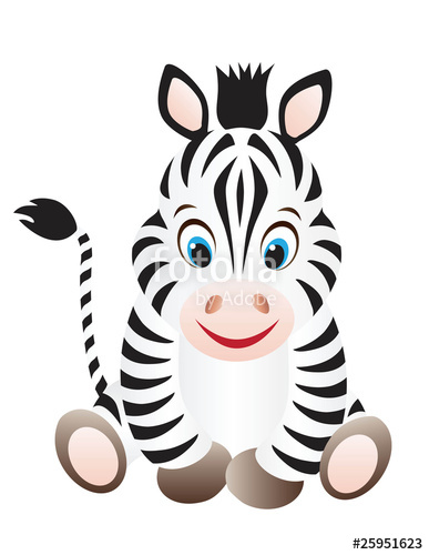 387x500 Cute Cartoon Baby Zebra With Big Eyes Stock Image And Royalty