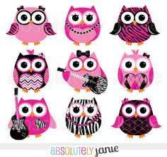 236x223 Girly Navy Pink Owls Digital Clipart