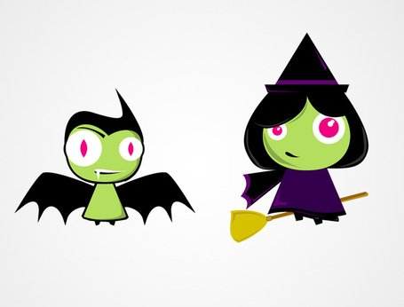 455x346 Free Cute Halloween Characters Bat Amp Witch Vectors (Free) Clipart