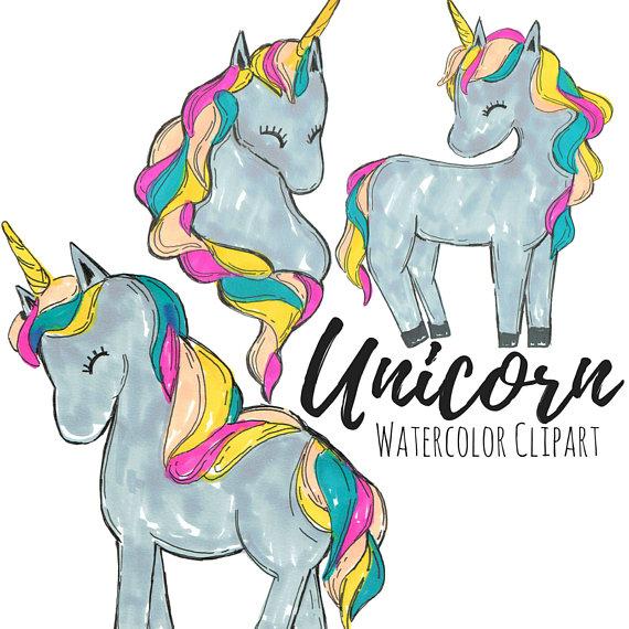570x570 Hand Drawn Cute Unicorn Clip Art Set