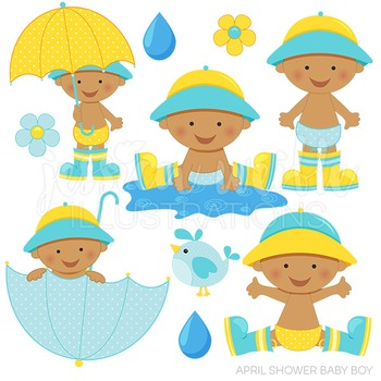 350x350 Dark April Shower Baby Boy Cute Digital Clipart, Baby Boy Umbrella