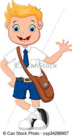 249x470 Vector Illustration Of Cute Boy In Uniform Waving Hand Vector