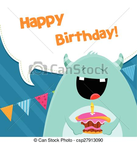450x469 Cute little monster with cake. eps vectors