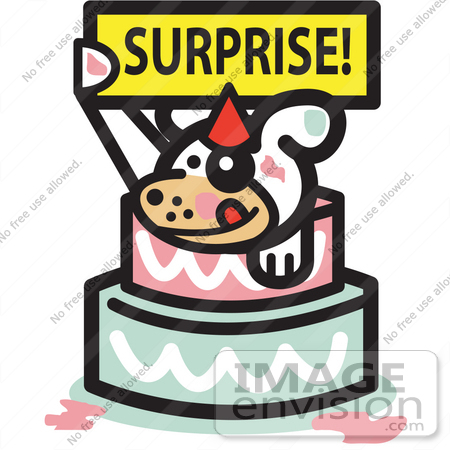450x450 Royalty free Cartoon Clip Art of a Cute Dog Holding A Surprise