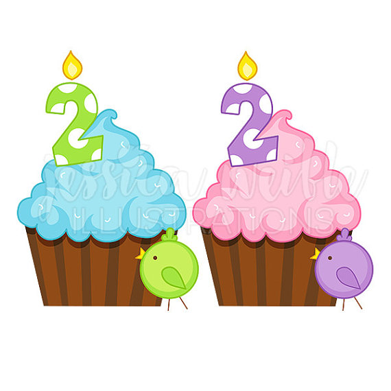 570x570 Second Birthday Cupcake Cute Digital Clipart, Birthday Cupcake