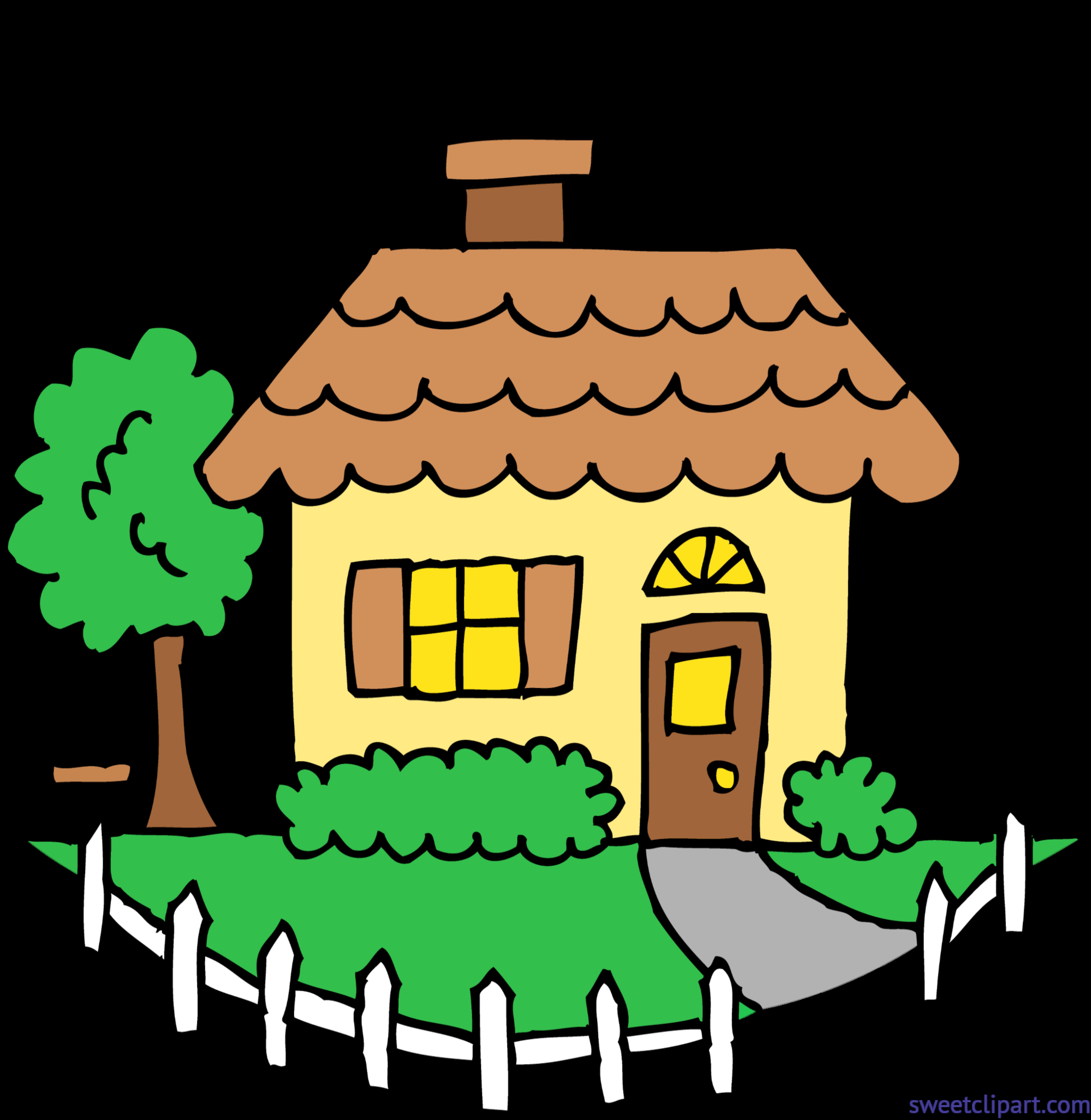 5765x5916 Cute Yellow House Clip Art