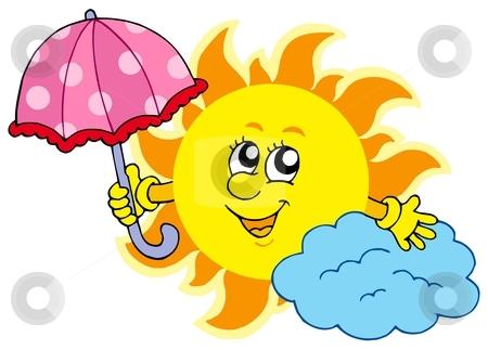 450x323 Cute Cartoon Sun With Umbrella Stock Vector