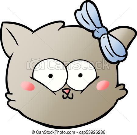 450x446 Cute Cartoon Kitten Face Vector