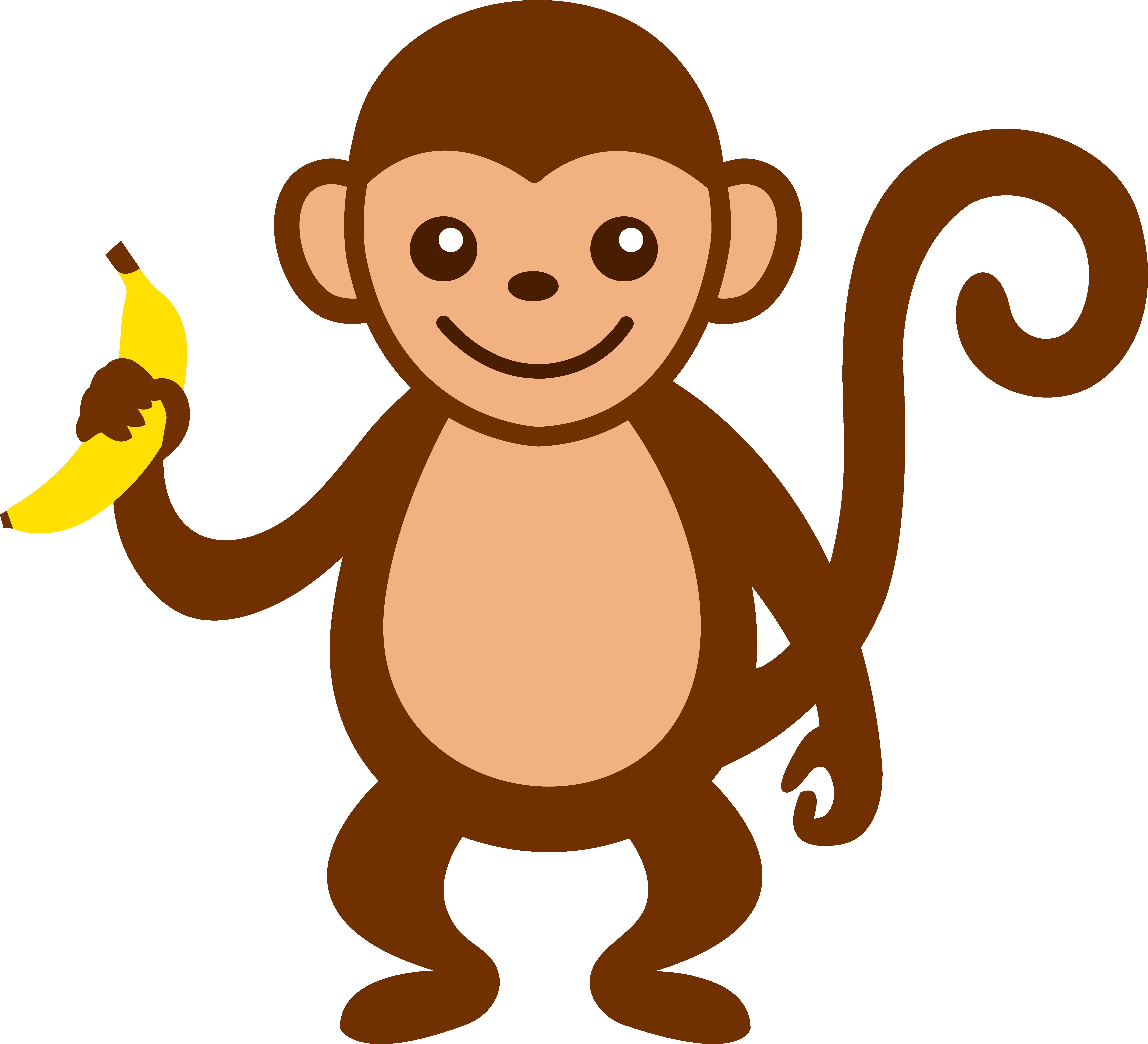 6597x6001 Cartoon Monkey Clip Art Cute With Banana Free Amazing Images
