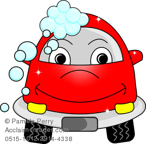 300x295 Clip Art Cartoon Of A Red Car With A Cute Face Going Through A Car