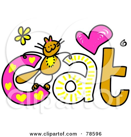 450x470 Royalty Free (Rf) Clipart Illustration Of A Cute Kitty On The Word