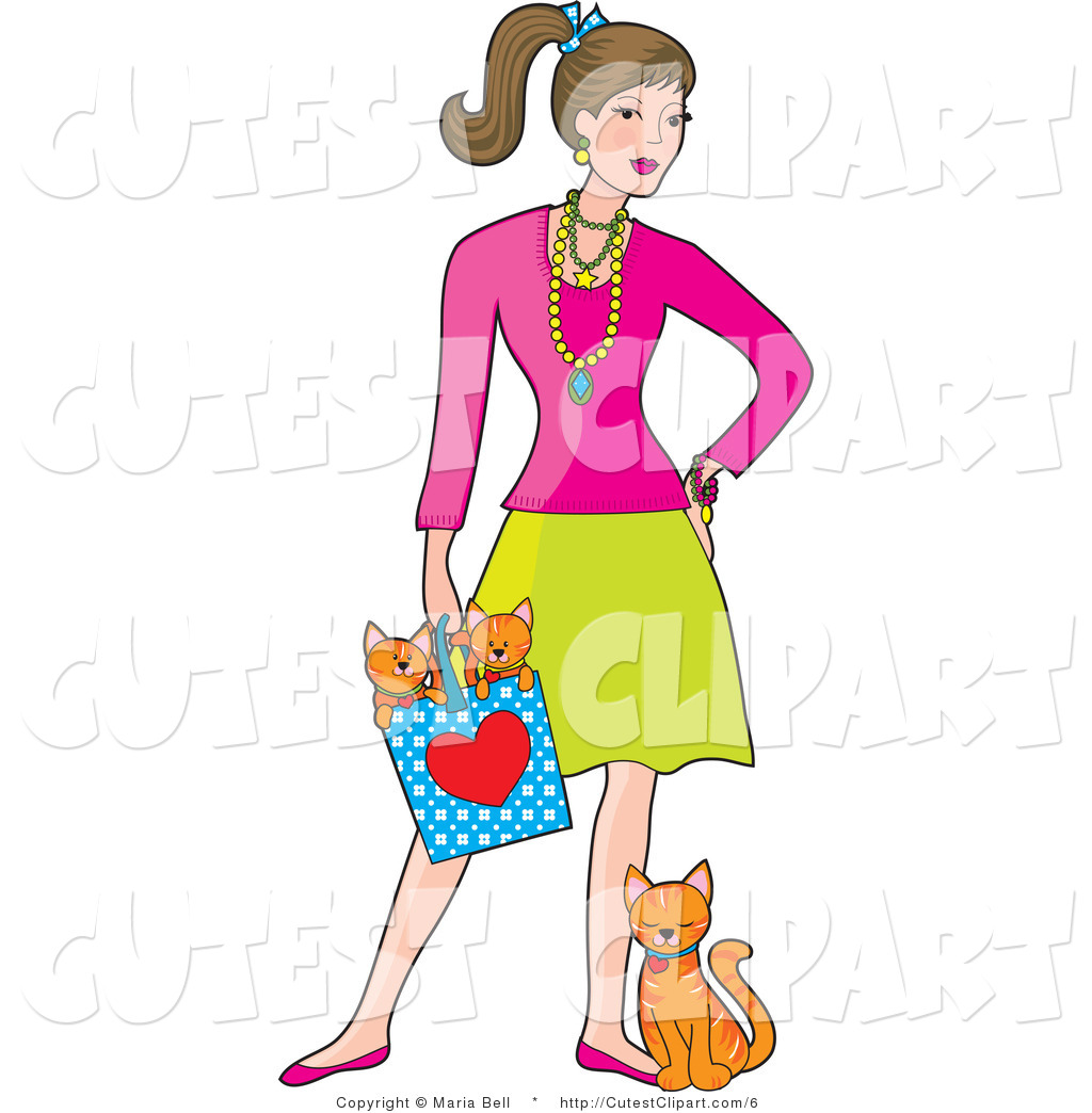 1024x1044 Clip Art Of A Girl With Cute Cats By Maria Bell