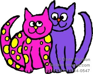 300x238 Clipart Illustration Of A Cute Cat Couple