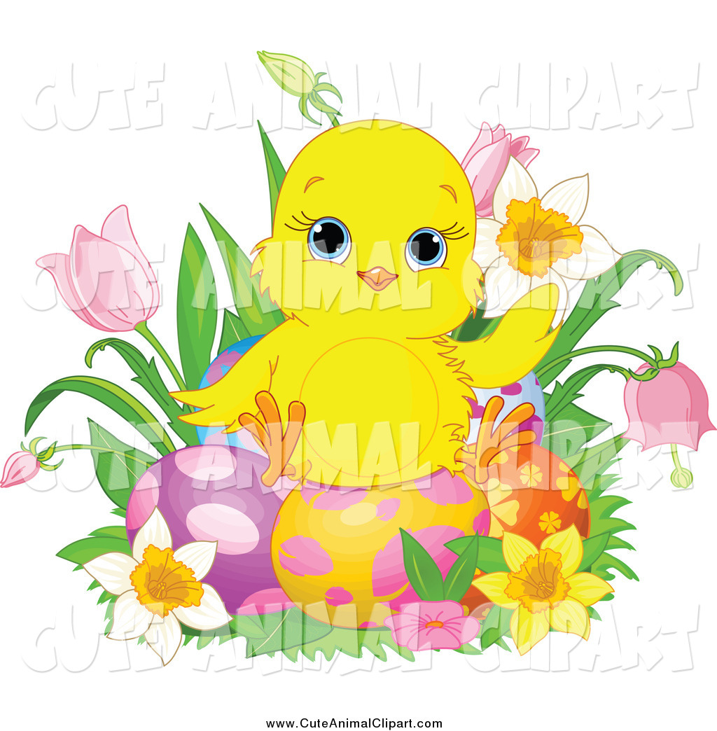 1024x1044 Vector Clip Art Of A Cute Easter Chick Sitting On Eggs, Surrounded